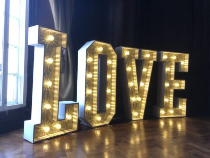 Antique Gold Glitter Love Letters Light Up Letters Wedding