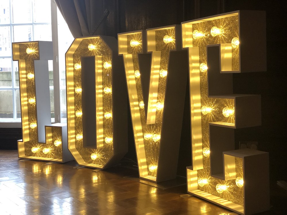 Antique Gold Glitter Love Letters Light Up Letters Wedding