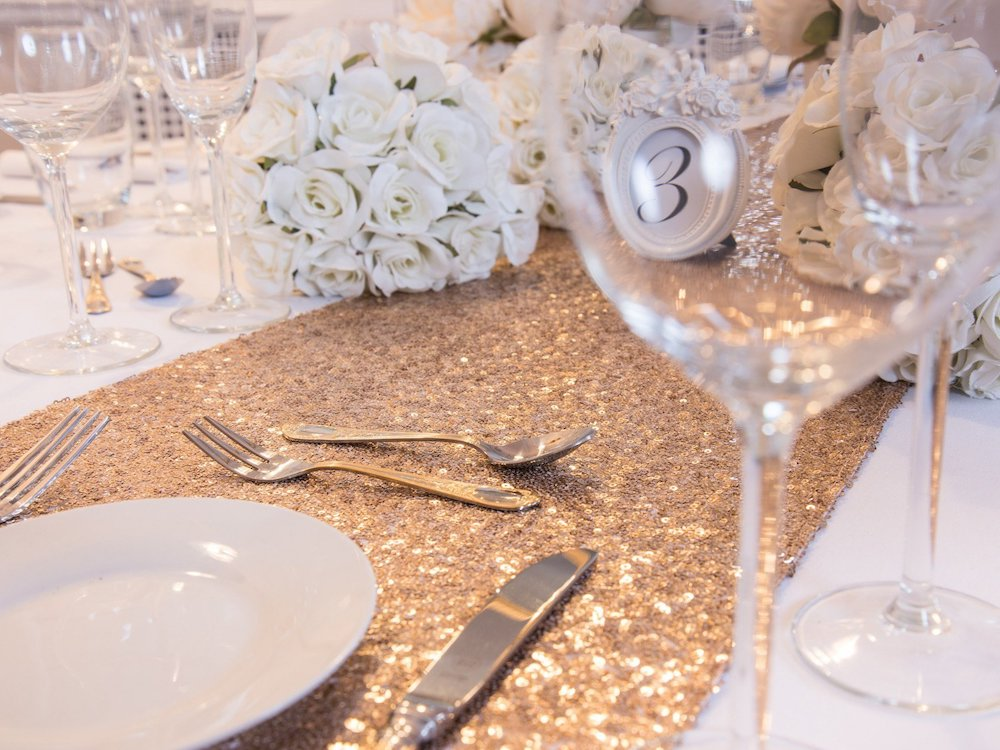 Antique Gold Sequin Table Runners, Table Runners, Scene My Event, Scene My Event - Scene My Event