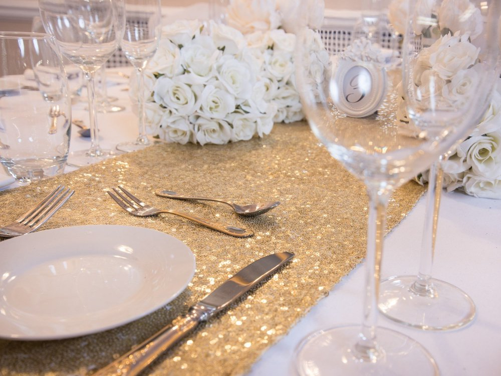 Celestial Gold Sequin Table Runners, Table Runners, Scene My Event