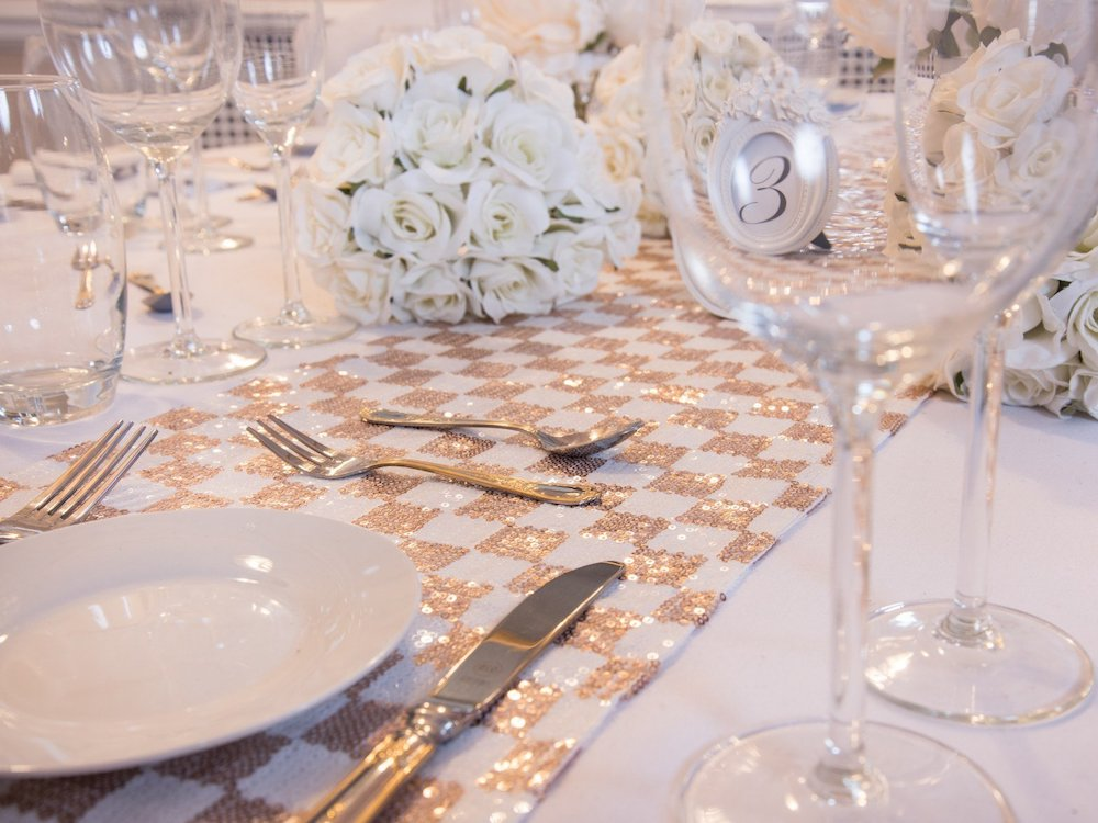 Champagne Blush Checked Table Runner