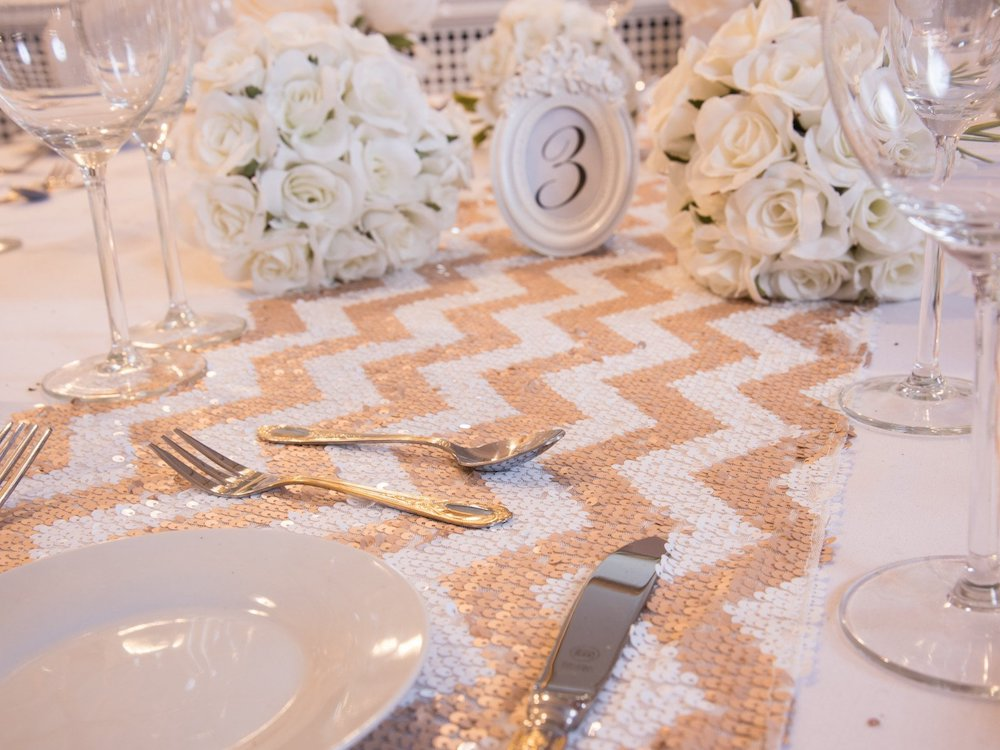 Champagne Blush Chevron Sequin Table Runners, Table Runners, Scene My Event, Scene My Event - Scene My Event