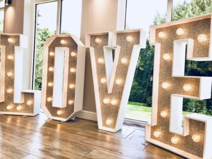 Champagne Glitter Love Letters Wedding Love lightup letters
