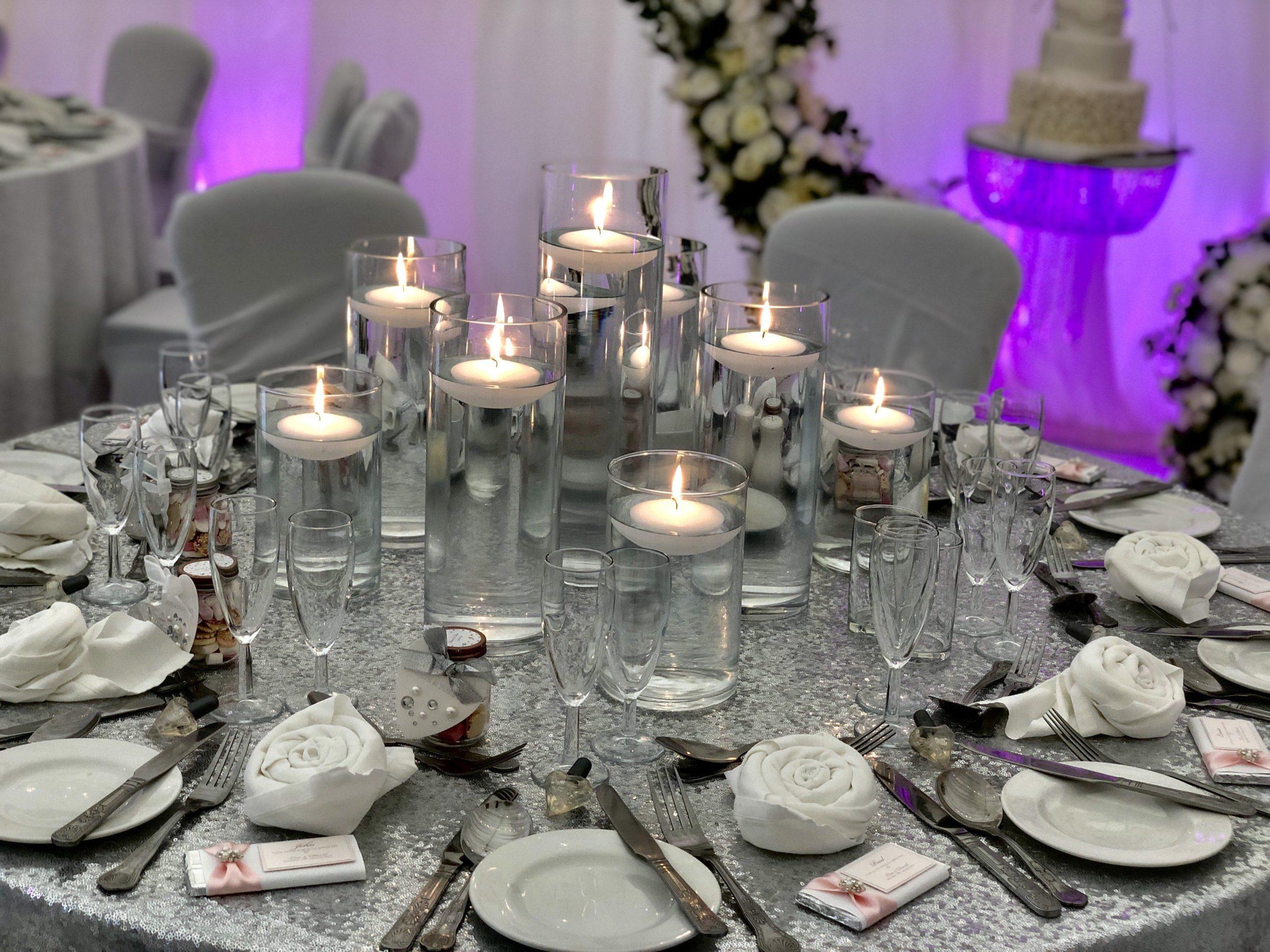 floating Candle arrangement wedding centrepiece