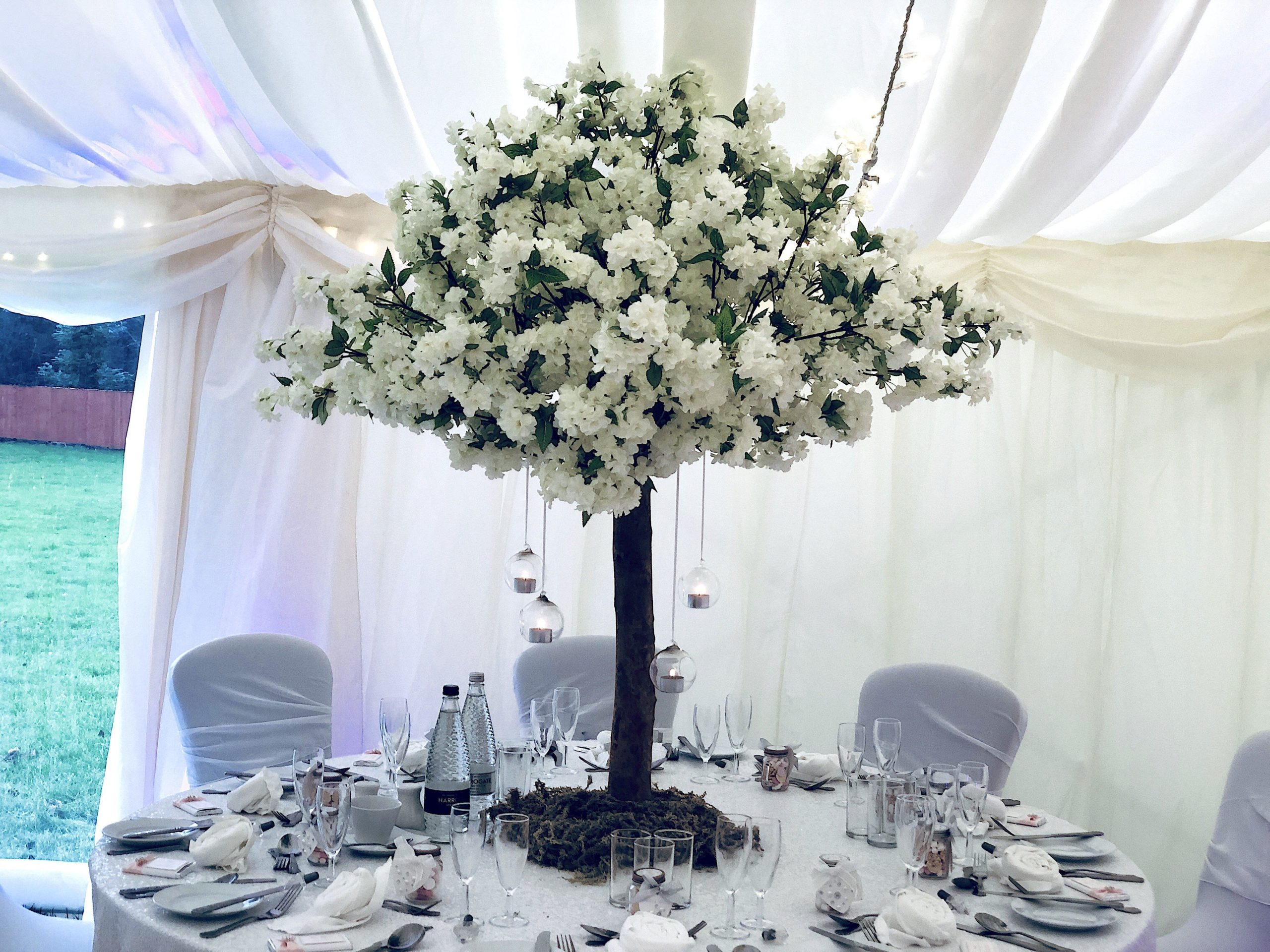 White Cherry Blossom Tree Centrepiece, Wedding Scene My Event