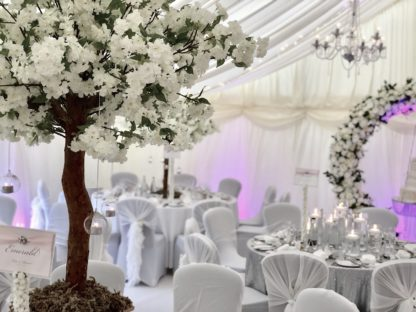 White Cherry Blossom Tree Centrepiece, Wedding Scene My Event