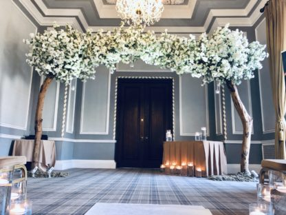 Two White Cherry Blossom Tree Archway Wedding Styling Decor Scene My Event