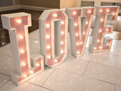 Ice Pink Glitter Love Letters Light Up Wedding Event Large Scene My Event