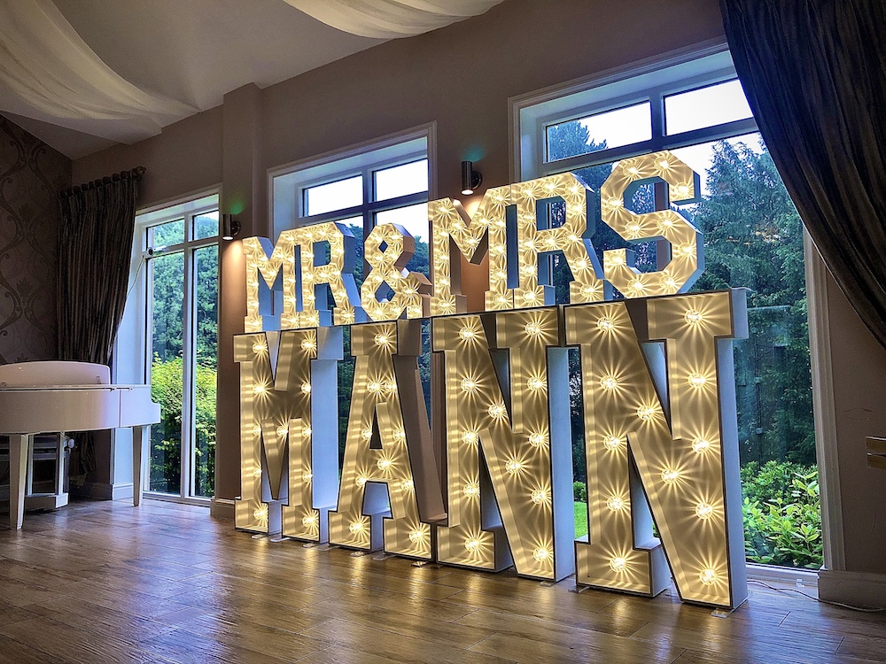 Light Up Surname Letters Large Personalised Wedding Light Up Event Letters Lights Scene My Event
