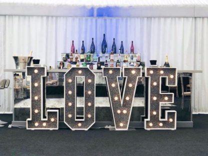 Moonlight Black Glitter Love Letters, Light Up Letters Wedding Event Scene My Event