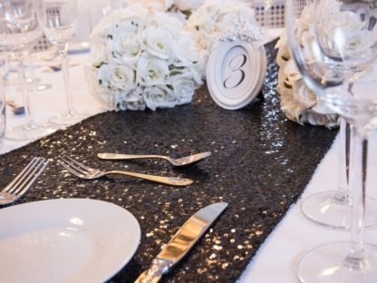 Moonlight Black Sequin Table Runners, Table Runners, Scene My Event, Scene My Event - Scene My Event