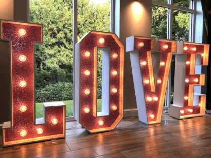 Perfect Pink Glitter Love Letters Light Up letters wedding event Scene My Event