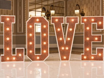 Rose Gold Glitter Love Letters Sparkle Light Up Large Wedding Event Scene My Event
