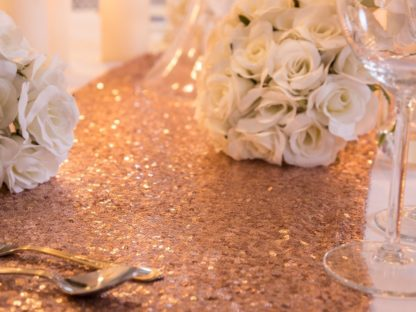 Rose Gold Sequin Table Runner table decoration wedding scene my event