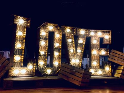 Rustic Love Letters Warm Light Up Pallet Wedding Scene My Event