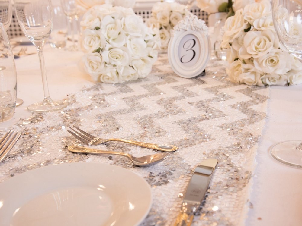 Shining Silver Chevron Sequin Table Runners