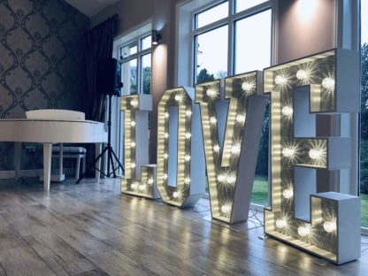Shining Silver Glitter Love Letters Light Up Large Weddings Scene My Event