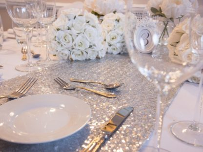 Shining Silver Sequin Table Runners