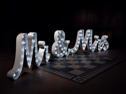 Signature Mr & Mrs Letters script light up large weddings