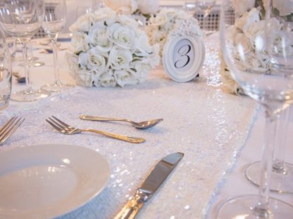 White Iridescent Sequin Table Runners, Table Runners, Scene My Event